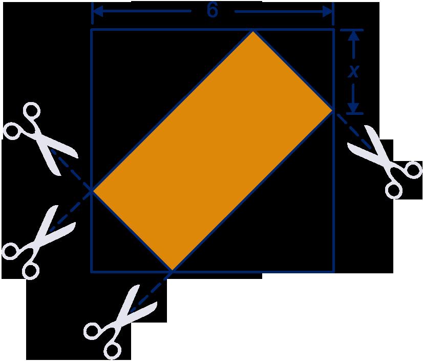 Van een vierkant van 6 bij 6 cm worden rechthoekige driehoeken weggeknipt de oker rechthoek - Cm breedte van de basis tabel ...