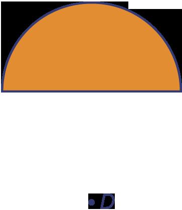 Teken een halve cirkel met straal 2 cm en een punt d daar midden onder op afstand 2 cm van het - Halve cirkelbank ...