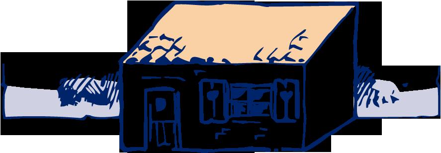 Een huis heeft een schuin aflopend plat dak een tor kruipt in de buurt van het huis over de grond - Van schaduw dak ...