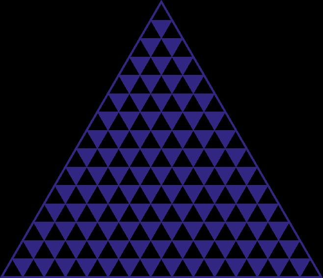Bekijk de driehoek bestaande uit witte en blauwe driehoekjes for Trap berekenen formule